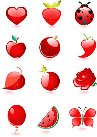 Collection of glossy red icons with drop shadow Illustration