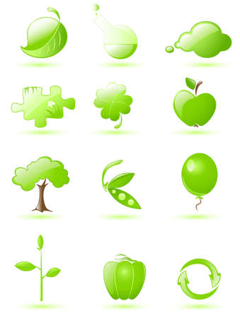 haricot: Collection of glossy green icons with drop shadow Illustration