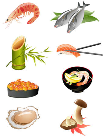 japanese cookery: sushi and other traditional japanese food icons Illustration