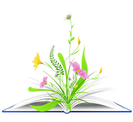 open book with pink flowers and green grass on a white background Illustration