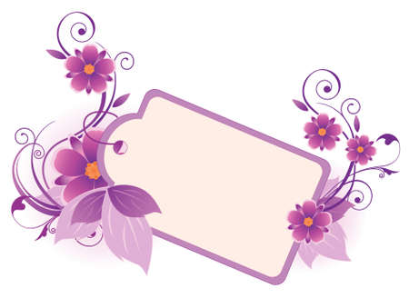 violet  banner with flowers, leaves  and ornament Stock Vector - 6294528