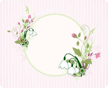 snowdrop: round banner with floral ornament and grunge elements