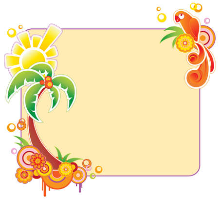 colored summer banner with palm and parrot Stock Vector - 6528716