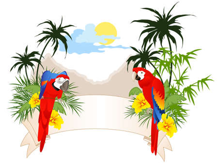 colored summer banner with parrots and palms