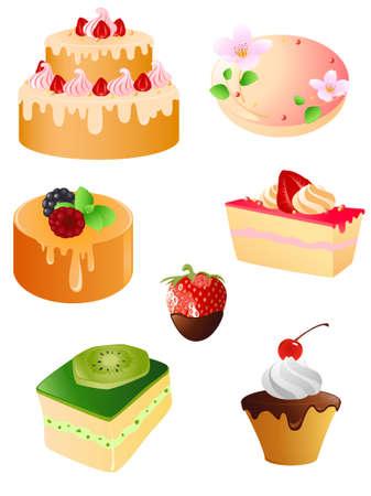chocolate tart: set of sweet dessert and fruit  icons Illustration