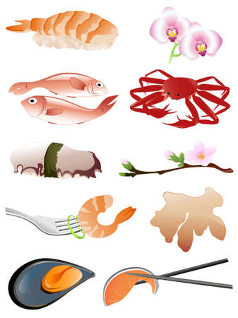 seafood and other traditional japanese food icons Vector