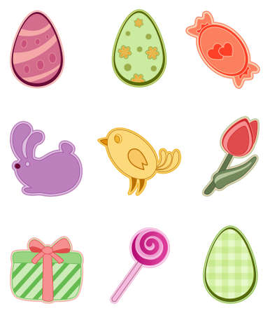 set of colored Easter icons Vector