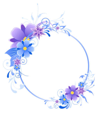 round blue  banner with flowers, leaves  and ornament Ilustração