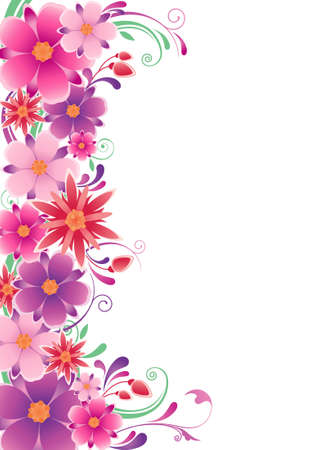 floral background  with flowers, leaves  and ornament