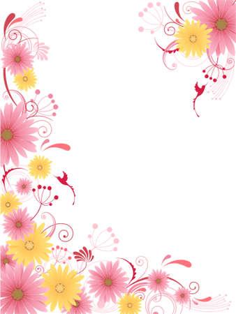 Floral background con fiori, foglie, ornamento e uccelli