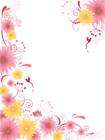 aster: floral background  with flowers, leaves, ornament and birds Illustration