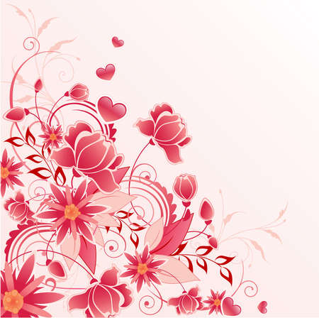 red floral background  with flowers, leaves and ornament  Ilustração