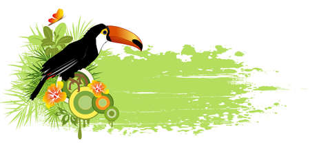 summer banner with tropical bird, palms and grunge effect Vector