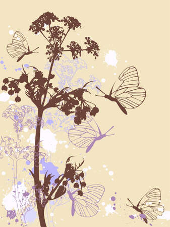Background with flowers, butterflies and blots Stock Vector - 6982515
