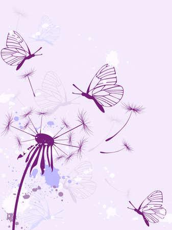 Background with butterflies, dandelion and blots Vector
