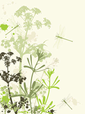 Background with green flowers,dragonfly and grunge effect Ilustração