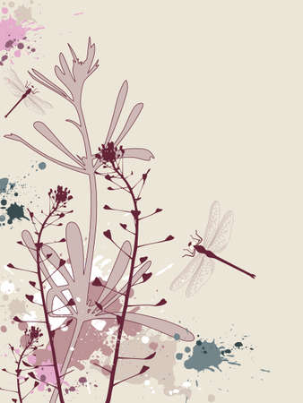 Background with flowers,dragonfly and grunge effect Stock Vector - 6982513