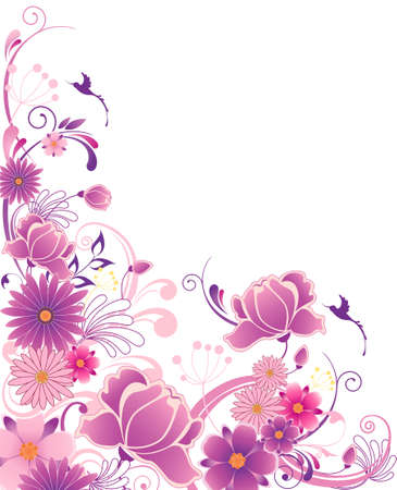 violet floral background  with ornament and flowers