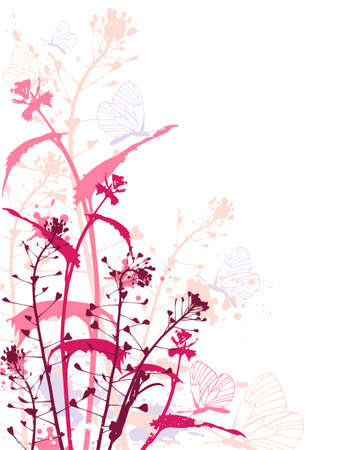 Background with red flowers,butterflies and grunge effect Stock Vector - 6982511