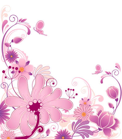 violet floral background  with ornament and flowers Stock Vector - 6982522