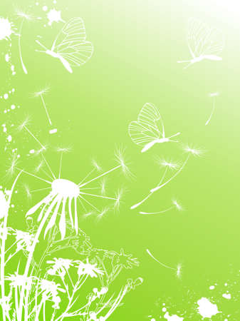 Green background with butterflies, dandelion and blots Stock Vector - 6982523
