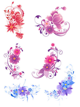 floral decorative elements with flowers and ornament Ilustração