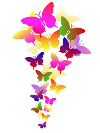 colored abstract background with butterflies Illustration