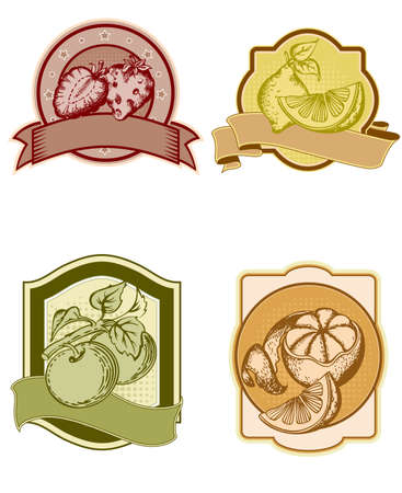 set of vintage labels with fruits and berries Vector