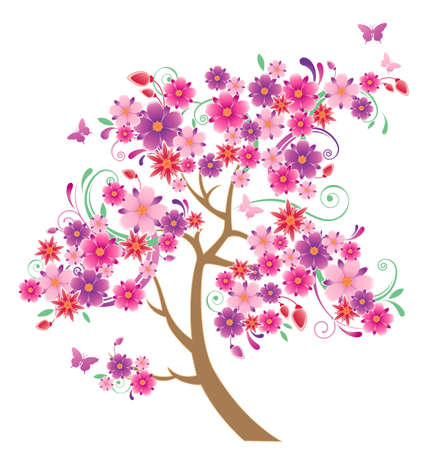virágzó: flowering tree and butterflies on a  white background
