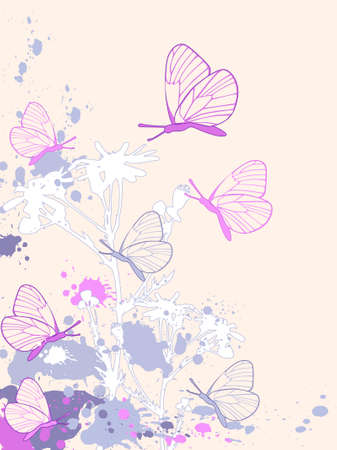 colored abstract floral background with camomiles and butterflies