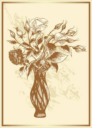 vintage card with bouquet of roses in a vase Vector