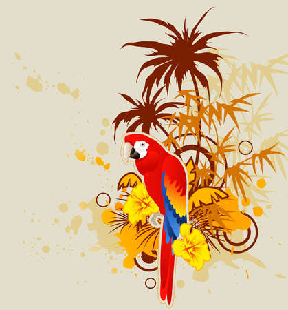 summer background with palm and parrot Vector