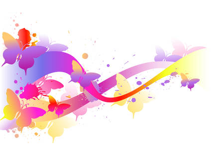Colored abstract background with butterflies Vector