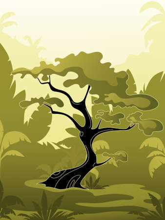 tree  in jungle on a green background
