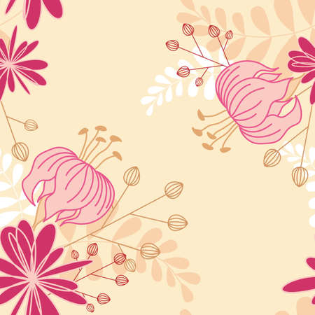 floral seamless pattern with lily flowers Vector