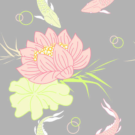 floral seamless pattern with lotus and fish Vector