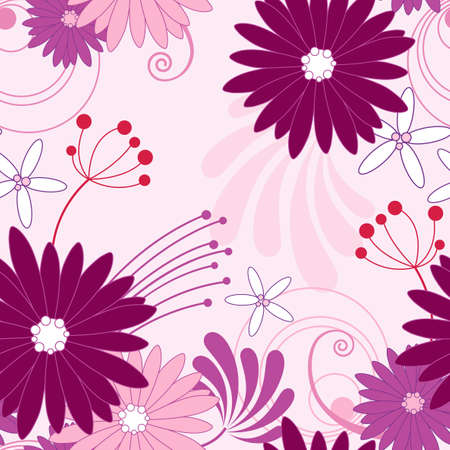 aster: floral seamless pattern with violet flowers