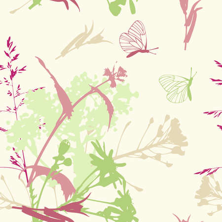 floral seamless pattern with flowers and butterflies