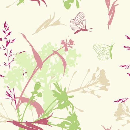 kwiatowym deseń bezszwowych z kwiatów i butterflies