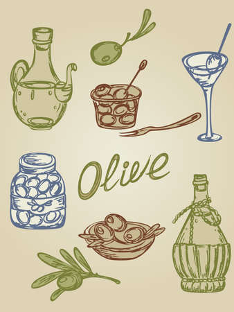 bank branch: hand-drown retro  icons with olive fruit and olive oil Illustration