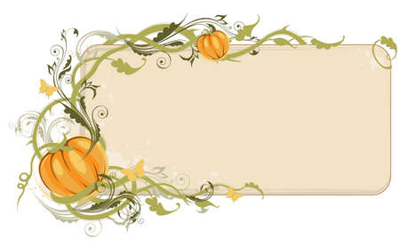 Halloween banner  with pumpkin and floral ornament Vector