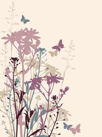 kamille: Floral Background with Gras, Blumen und Schmetterlinge Illustration