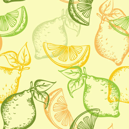lemon slices: citrus seamless pattern on a green background
