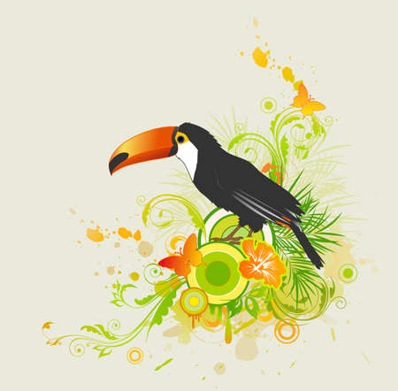 summer background with ornament and parrot Vector