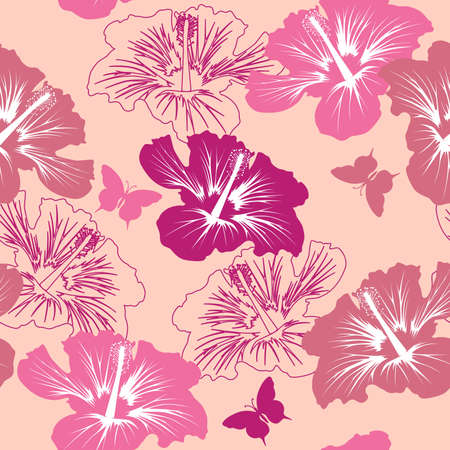 seamless pattern with tropical flower on a pink background Stock Vector - 7867269