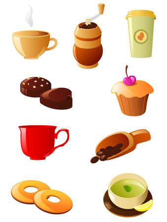 bagel: Koffie en thee icon set  Stock Illustratie