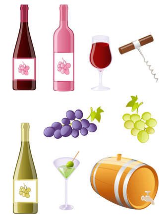 wine and grapes icon set Vector