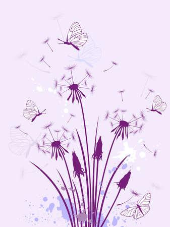 splashed: violet floral background with dandelion