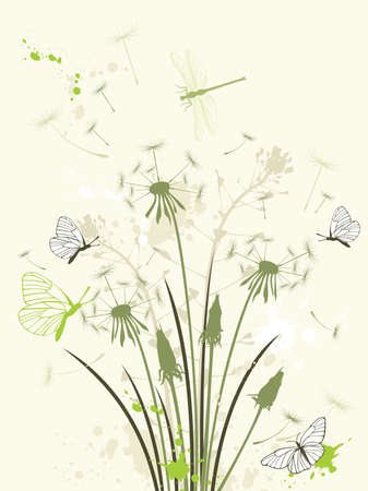 green floral background with dandelion Stock Vector - 8035407