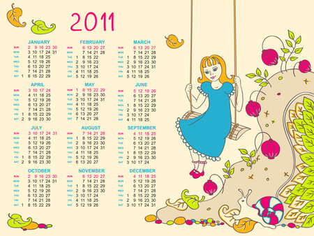 calendar design for kids  Vector